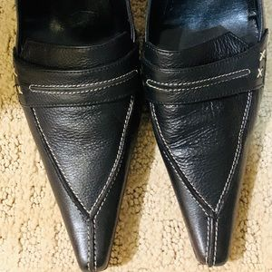 Black all leather shoes size 8